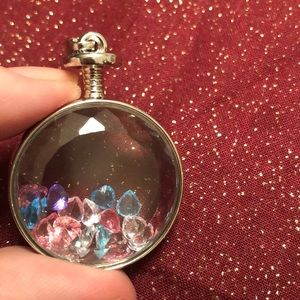 Hearts in a bottle glass pendent